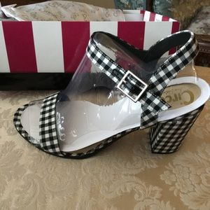 New black checkered 4-inch sandals